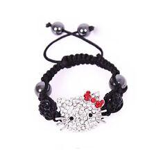 Bracelet Shamballa Enfants Hello Kitty-Stass,Perles Noires, 4 hématites