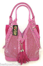NEW-HANDBAG EXPRESS FUCHSIA WOVEN LEATHERETTE+CRYSTAL+STUD+SILVER PURSE,HAND BAG