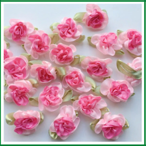 Flowers Ribbon Pink Satin Sewing Craft Appliques Wedding Decorations Crafts