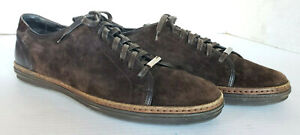 Ermenegildo Zegna Brown Suede Leather Lace Up Low Top Fashion Sneaker Shoes 10.5