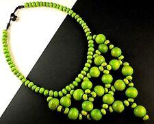1 Fashion Green Colour Beaded Wood Bohemian Choker Necklace - # B157