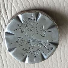 Antique Vintage Victorian Silver Round Bird Singing Tree Brooch Pin Mother's Day