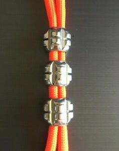 Stainless Steel paracord / lanyard beads - Grenade style - SET OF 3 - 6mm hole.