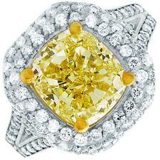 6.50 CTW GIA Certified Fancy Yellow Cushion Cut Diamond Engagement Ring Platinum