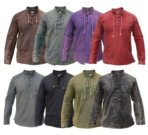 Mens Hemp Cotton Lace Up V Neck Grandad Collar Plain Full Sleeve Shirt