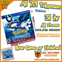 Pokemon Alpha Sapphire Version Enhanced! Loaded With All 721 + 6iv Nintendo 3ds