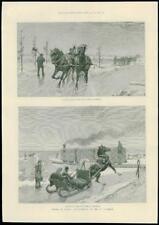 1888-Canada St Lawrence RIVER INVERNO slitta cavallo carrozza Locomotiva (215)