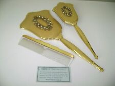 Vtg Matson Vanity Set, 3pc Mirror, Brush & Comb, Pearls, Rhinestones, Gold Plate