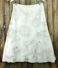 Per Una Boho White Linen Embroidered Floral Mesh Summer Flare Midi Skirt UK 12