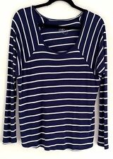 VOLCOM Ladies Casual Navy White Striped Long Sleeve Top Tshirt Tee Size M 12