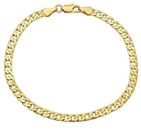 14K Gold 2.6mm Hollow Cuban Link Chain Bracelet - 8 inches
