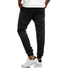 Solid Button Long Pants For Men - Black