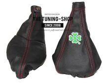 "For Alfa Romeo 147 00-04 Gear & Handbrake Gaiter Leather ""Clover"" Embroidery"