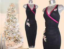 Karen Millen Black Tulle Embellished Sequin Wrap Style Prom Party Dress UK8 EU36