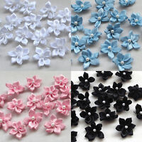 200/40pcs U pick satin ribbon flowers W/pearl Appliques Craft DIY Wedding