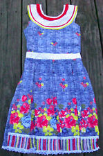 NWT Roberto Toscani Girls EASTER Party Floral Dress Size 8 Blue Red Yellow White