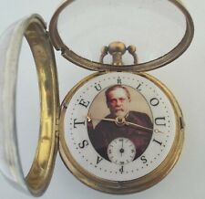 RARE SILVER DOCTORS WATCH PICTURE OF LOUIS PASTEUR WITH NAME DIAL VERGE FUSEE