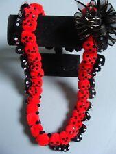 Hawaiian Red Lady Bug Pom Pom Lei Graduation Gift small