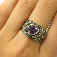 925 Sterling Silver Gold Plated Amethyst & Marcasite Heart Design Ring Size 8