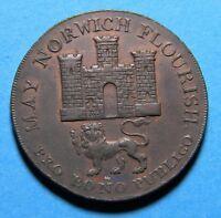1792 Norfolk Norwich halfpenny Conder Token (053)