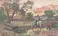 1910 ORIGINAL WATERCOLOUR PAINTING AUSTRALIAN DROVER DOG & SHEEP Barton POSTCARD