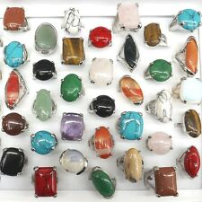 Mix Lot Big Gemstone Rings Natural Stone Rings 50pcs/lot Wholesale