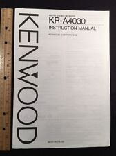 "Kenwood KR-A4030 Stereo Receiver ""Original"" Owners Manual 16 Pages kra4030"