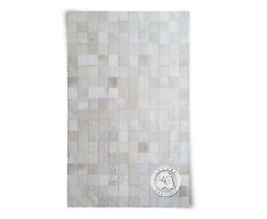 New Brazilian COWHIDE PATCHWORK CARPET AREA RUG OFF WHITE 4'x6' Cowhide Area Rug