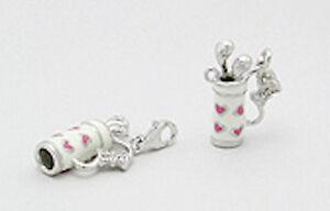 Sterling Silver Enamel Golf Bag Charm Bracelet Pendant Necklace W/ Lobster Clasp