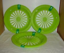 12 pc Summer LIME GREEN  Paper Plate Holders, Rigid Plastic & Washable - NEW