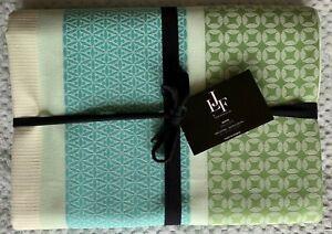 Le Jacquard Francais Tablecloth - Aqua Graphic - 100% Cotton - 140 cm x 225 cm