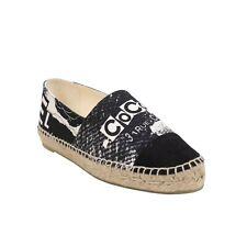 NIB CHANEL Black And White Printed Fabric Espadrilles Flat Shoes Size 7 US 38 EU