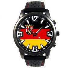 Germany Rhineland-Palatinate Flag Mens Silicone Band Quartz Wrist Watch S418F