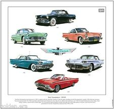 FORD THUNDERBIRD Fine Art Print - 1st, 2nd & 3rd generation personal luxury car