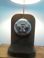 Vintage GE Electric Meter KWH Table Lamp Wooden Base made by J. A. Co. Michigan
