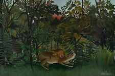 The Hungry Lion attacking a Antelope Henri Rousseau cazar animales león B a3 02248