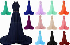 Stcok Prom Dresses Halter Long Formal Bridesmaid Wedding Party Evening Gown 6-22