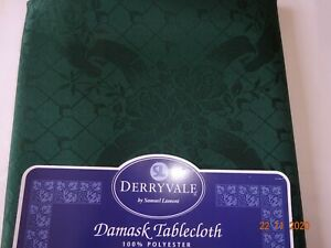 Polyester Damask Table Cloth  Made in U.K.   Dark Green with Embossed Pattern