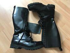 Cargadores de Bondage Londres 20 ojete botas negro Rangers cuero tapas acero casi nueva