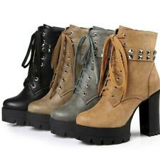 Women Ankle Motorcycle Boots Platform Plus Size Rivets High Heel Shoes Punk Chic