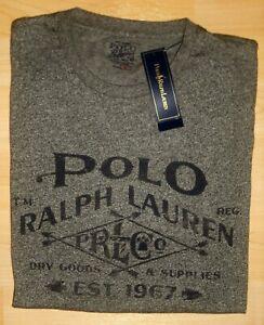 "NWT POLO RALPH LAUREN HEATHER GRAY GRAPHIC POLO SHIRT ""RLCO DRY GOODS SUPPLIES-S"