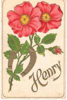 Name Card Henry Embossed Flowers Vintage Postcard