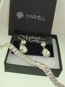 NEW MARIELL BRILLIANT SPARKLING CZ EARRINGS & BRACELET WEDDING JEWELRY!