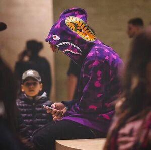 #102 Spring 2021 A Bathing Ape Bape shark Purple camouflage zipper casual hoodie