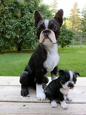 "Boston Terrier Mom Puppy Dog Figurine Resin Pet Decor Gift Dogs 16.5"""