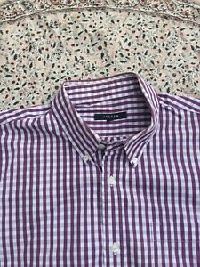 JAEGER - Purple & White - Gingham Check - Cotton - Button Cuff - Shirt - L