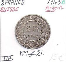 SUISSE - 2 FRANCS - 1945 B - Pièce de Monnaie en Argent // Qualité: TTB