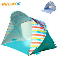 WeJoy Camping Beach Tent Sun Shade Pop Up 2-Person Canopy Light Blue Rainbow