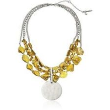 KENNETH COLE Yellow Silver Tone Mixed Shell Bead Necklace NWT $65
