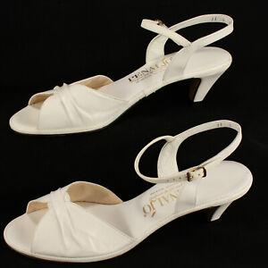 """PENALJO Slip-on Strap Over Sandals 11 Slingbacks White 2.5"""" Heel Open Toe"""